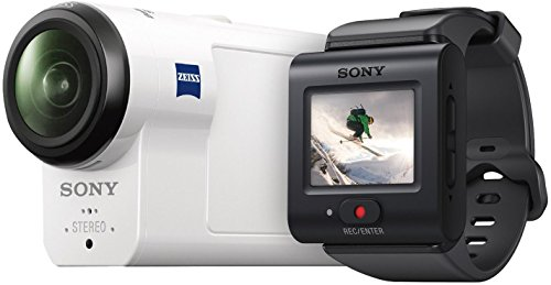 Sony HDR-AS300R Full HD Action Cam mit RM-LVR3 Live Remote Fernbedienung und Boss (Exmor R CMOS Sensor, Carl Zeiss Tessar Optik, 170 Ultra-Weitwinkel, GPS, WiFi, NFC) weiß
