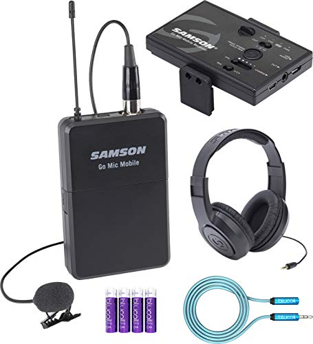 Samson Go Mic Mobile Lavalier Wireless Microphone System Bundle with SR350 Over Ear Stereo Headphones, Blucoil 6-FT Headphone Extension Cable (3.5mm), and 4 AA Batteries