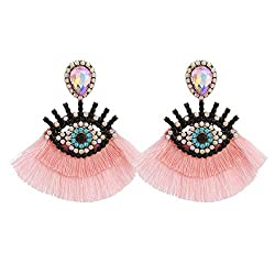Pink Geometric Fringed Multicolor Drop Earring With Rhinestones