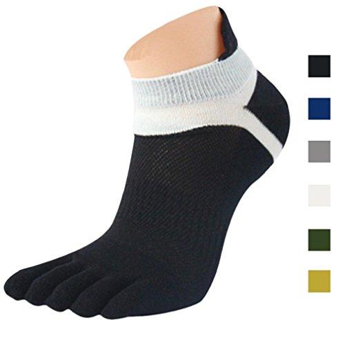 Tefamore 1Paio Uomo Calze, Mesh Meias Sport Running Cinque Dita Toe Socks, Nero