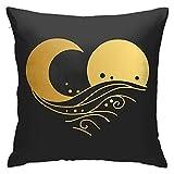 Sun Moon Logo Design Sea Wave Square Funda de cojín Throw Fundas de almohada para sala de estar decorativa almohada para el hogar 45,7 x 45,7 cm