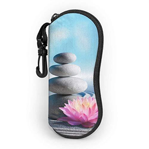 AOOEDM Spa Stones In Zen Estuche blando para gafas de sol, Estuche para lentes con cremallera y clip para cinturón