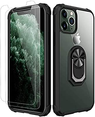 iPhone 11 pro Case,[ Military Grade ] with [ Glass Screen Protector] 15ft. Drop Tested Protective Case | Kickstand | Compatible with Apple iPhone 11 pro 5.8 Inch -Black