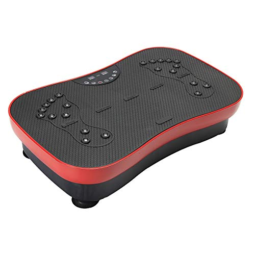 ZZSQ Vibration Plate Exercise Machine Crazy Fit Vibration Plate with Bluetooth, Whole Body Vibrating Massager, with LED Display, Remote Control, 2 Resistance Bands,Red