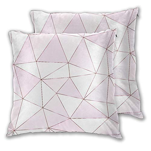 BROWCIN 2 Pack Funda de Almohada Patrón Transparente Poligonal de Oro Rosa con Azulejos Triangulares Lino Suave Cuadrado Sofá Cama Decoración Hogar para Cojín 30cm x 30cm