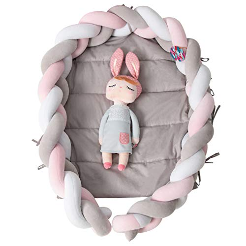 LOAOL Baby Crib Nest Bed Newborn Lounger Sleeper Knotted Braided Infant Nursery Decor Cradle Bumper WhiteGrayPink 177quot x 236quot