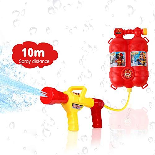 GoolRC Pistola de Agua Bombero Juguetes Mochila Extintor de Juguetes de Pulverización de Agua con Boquilla y Juego de Tanques Niños al Aire Libre Playa de Agua Juguete para niños Regalos