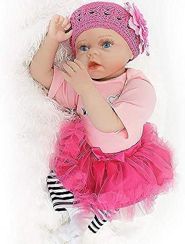 20 Zoll Lebensecht Wiedergeboren Baby Puppen Blaues Auge mädchen gewichtet Das Sieht echt aus, Neugeborene Puppen Handgefertigt Babys zum Kinderspielzeug