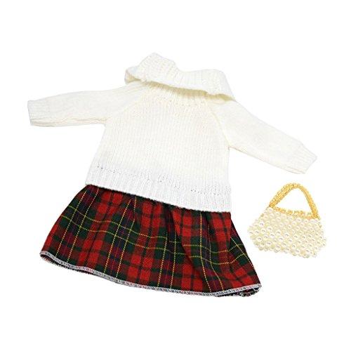 Toygogo Lässige Puppen Winterkleid Zubehör Kariertes Strickkleid Und Perlenhandtasche