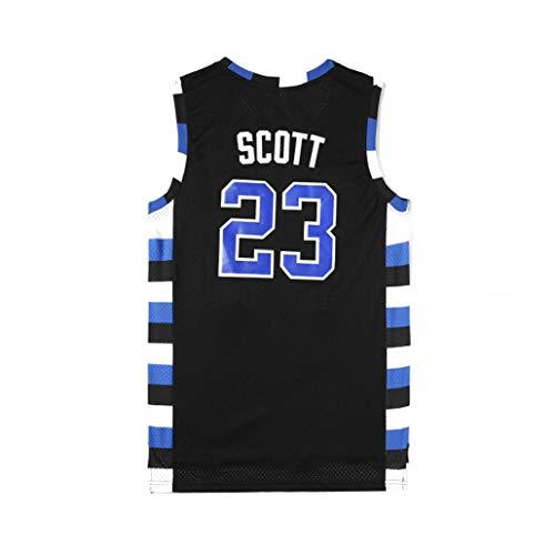 For Hombre # 23 Camiseta De Baloncesto Sin Mangas De Scott Lucas Ravens One Tree Hill Película Versión De Secado Rápido Deportes Al Aire Libre (Color : Negro, Size : S)