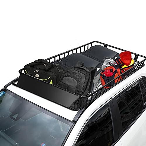 COSTWAY Portaequipajes de Coche Vehículo de Acero Portaequipajes Techo Universal 162x99x15cm Negro