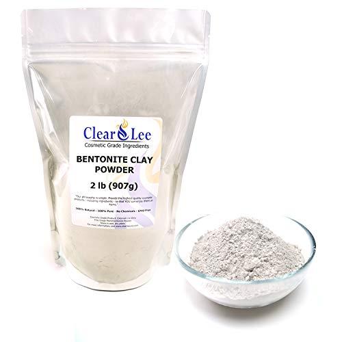 ClearLee Bentonite Clay Cosmetic Grade Powder - 100% Pure Natural Powder - Great For Skin Detox, Rejuvenation, and More - Heal Damaged Skin - DIY Clay Face Mask (2 LB)