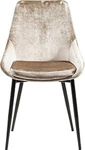Kare Design Stuhl East Side, Polsterstuhl in Samtstoff, Esszimmerstuhl, edler Designstuhl, einzeln, Beige (HxBxT) 83x48x57cm