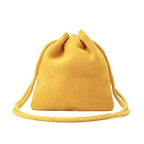 Oinna Bandolera de lana tejida, sencilla bandolera de lana, estilo retro, 27 x 27 cm, color amarillo, color Amarillo, talla 27*27cm