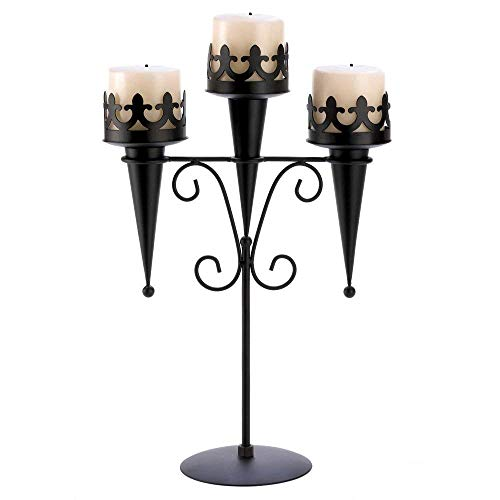 Black Iron Medieval Style Triple Lantern Candle Stand