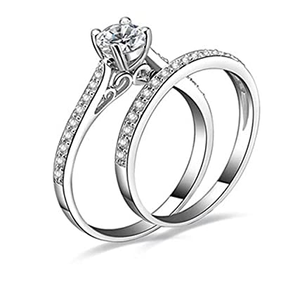 SEniutarm Engagement Love Rings Wedding Bands Women Engagement Wedding 2Pcs Set Cubic Zirconia 925 Sterling Silver Rings Size 6-10 for Women/Girl Finger Rings DIY Jewelry Gifts - US 10