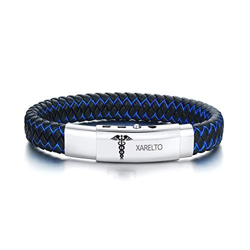 XARELTO Bracelet Engraved Handmade Braided Bangle Adjustable Leather Emergency Medical Scepter ID Bracelets for Men,210-230MM