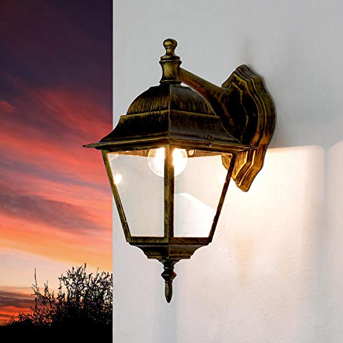 *Rustikale Wandleuchte in antikgold inkl. 1x 12W E27 LED Wandlampe aus Aluminium Glas für Garten Terrasse Garten Terrasse Lampe Leuchten außen Beleuchtung*