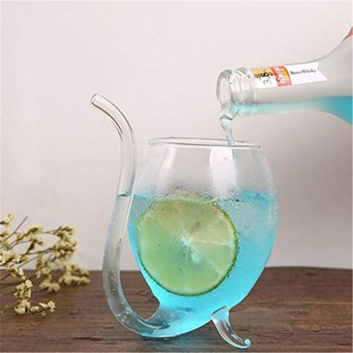 Liyes Wine Whiskey Glass, Heat Resistant Glass, Sucking Juice Milk Cup, Tea Cup, Storage Serving Stirrers Fridge Jars Flask Tumbler Glasses - for Women (transparent, 300ml)