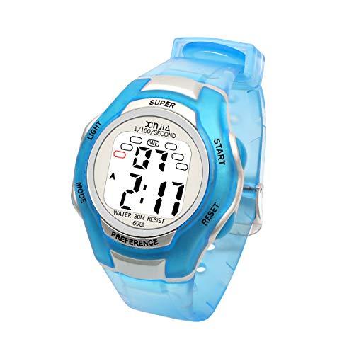 Jungen Digitaluhren Mädchen Uhr Kinderehr Jungenuhr Wasserdicht Sportuhren Digital Armbanduhr mit LED-Licht Wecker/Stoppuhr Datum & Woche Kalender für Sport Outdoor (Blau)