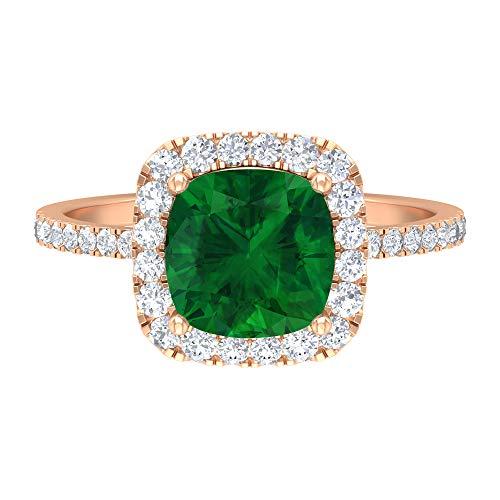 Anillo de halo de esmeralda creado por laboratorio, piedras preciosas de 2,70 quilates, diamante HI-SI de 8 mm, anillo de compromiso con piedra lateral, 14K Oro rosa, Size:EU 50