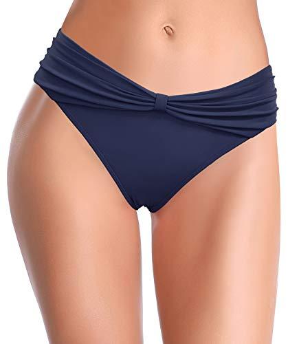 SHEKINI Damen Bikini Hose Gerafft Bogendekoration klassisch Triangel Badehose Badebekleidung Strandhose Mäßige Abdeckung für Frauen (M, Dunkelblau B)