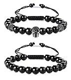 BESTEEL 2 PCS 8 MM Beads Bracelets Ensemble pour Hommes Tête De Lion Skull Bracelet...