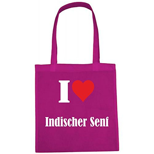 Tasche I Love Indischer Senf Größe 38x42 Farbe Pink Druck Weiss
