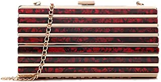 SODIAL Ladies Evening Bag Marble Striped Clutch Banquet Wedding Clutch Bag Mobile Phone Storage Tote Red