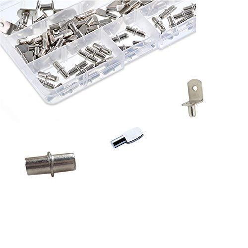 JJDD Kit de soporte laminado que incluye 60 piezas de clavos espaciadores de 5 mm, 30 piezas de ejes intermedios de 5 mm, 20 piezas de clavijas en forma de L para armarios de muebles