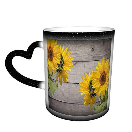 Suowers en fondo de madera mágica sensible al calor color cambiante taza en el cielo arte divertido tazas de café regalos personalizados para los amantes de la familia amigos