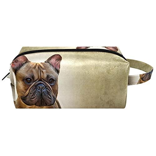 Neceser de Maquillaje Estuche Escolar para Cosméticos Bolsa de Aseo Grande,Perro Bulldog francés