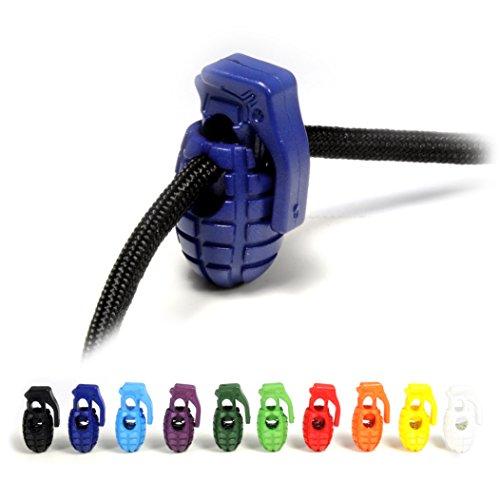 Ganzoo Lot de 10 bloqueurs de cordons en plastique Motif Granate Diamètre du trou 8 mm Pour cordes, vestes UVM Bleu foncé