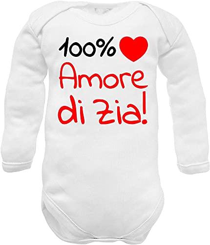 body neonato manica lunga cotone estivo frase 100% amore di zia e cuore rosso - idea regalo divertente nascita nipote (body Zia c bianco ml 0-3 mesi)