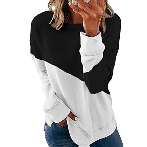 Xmiral Pullover Tops Damen Farbe Patchwork Bluse Langarm Rundhalsausschnitt Slim Fit...