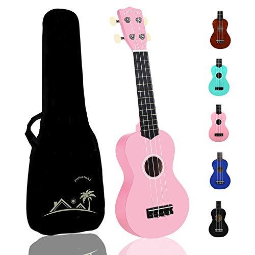 POMAIKAI Sopran Ukulele Uke 21 Zoll Hawaii Gitarre mit Tasche für Kinder und Anfänger (rosa)