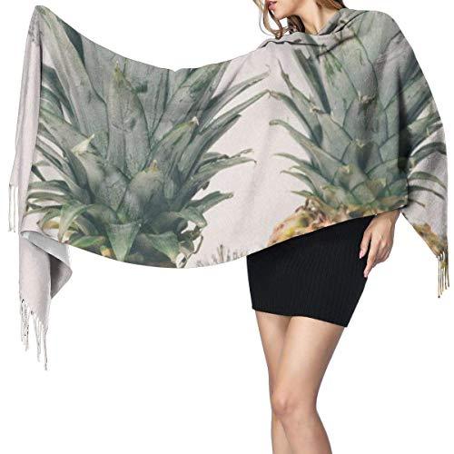 Bufanda de mantón Mujer Chales para, Piñas Frutas tropicales Moda para mujer Mantón largo Invierno Cálido Bufanda grande Bufanda de cachemira