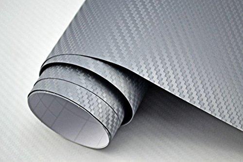 Neoxxim 3,29€/m² Auto Folie - 3D Carbon Folie - Silber - 100 x 150 cm - Meterware blasenfrei mit Luftkanälen Premium