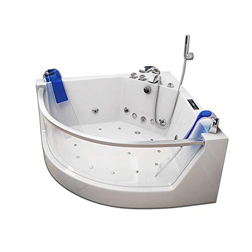 Home Deluxe - Whirlpool Badewanne - Atlantic L weiß mit Heizung und Massage - Maße: 141 x 141 x 62 cm   Wanne für 2 Personen, Indoor Jacuzzi