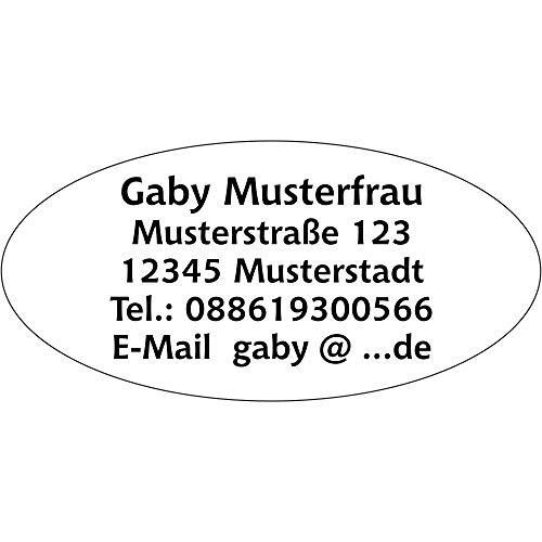 Adressaufkleber Adress Etiketten oval - 360 Stück - 54x29 mm, 1-5 Zeilen beschriftbar mit Wunschtext, matt selbstklebend