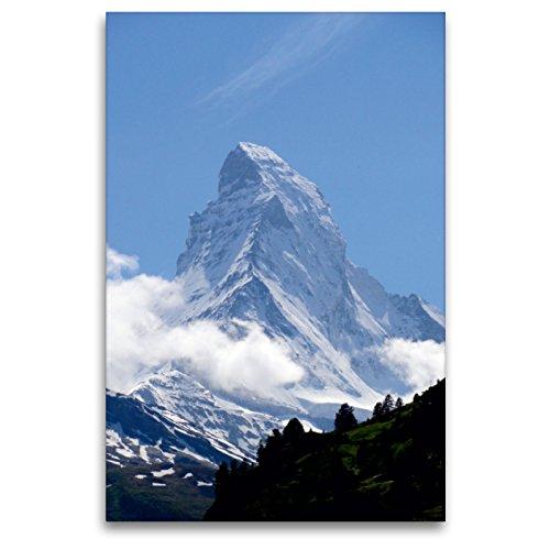Premium Textil-Leinwand 80 x 120 cm Hoch-Format Wolkenstimmung am Matterhorn - Zermatt   Wandbild, HD-Bild auf Keilrahmen, Fertigbild auf hochwertigem Vlies, Leinwanddruck von Susan Michel