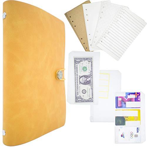 A6 Binders PU Leather Refillable Journal- Notebook Chic Design Binder Organizer Notebook Perfect Budget Planner, Bill Organizer and Pocket Notebooks (A6, Vintage, DarkOrange)