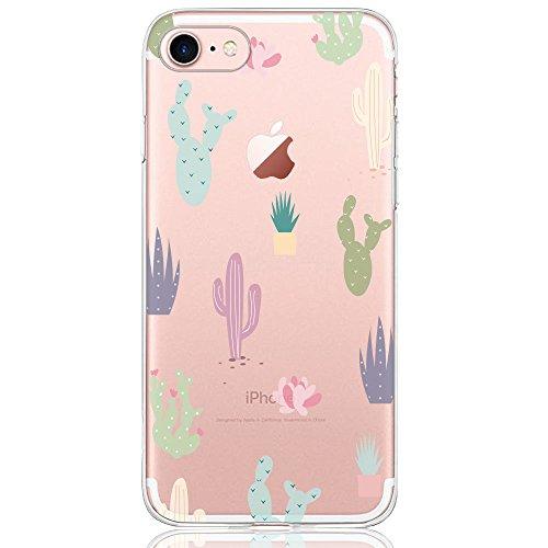 Oveo Funda iPhone 7/8, Serie Dolce Vita Carcasa Transparente Silicona para Mujer/Chica con diseño de Flores Cactus Coloridas