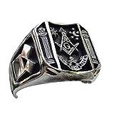 Anillos de metal para hombre, calavera de masonería masónica, Punk Rock, Hip Hop para motociclista, joyería para novio, regalo de creatividad, 7 plata