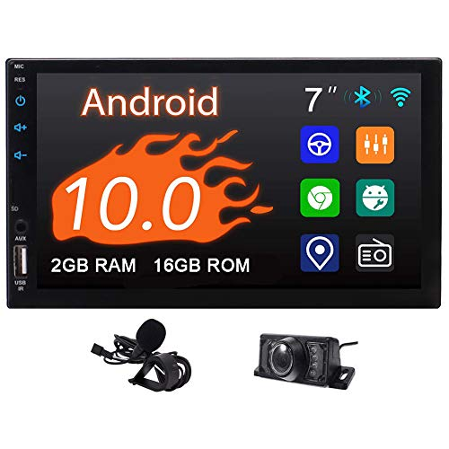 Autoradio 2 din Android 10.0 Stereo Auto Bluetooth Radio Macchina 2G+16G 7 Pollici HD Touch Screen Lettore Video Multimediale Specchio Link USB WiFi Navigatore GPS DAB Microfono Telecamera Posteriore
