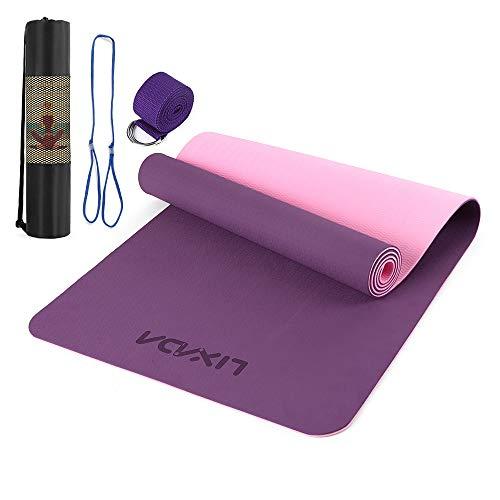 Lixada Tappetino da yoga TPE Pilates con tracolla e borsa di stoccaggio antiscivolo tappetino fitness per casa palestra fitness 72 x 61 cm