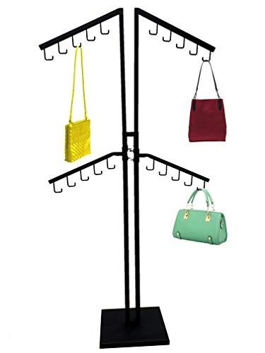 Only Hangers Four Arm Matte Black Handbag Rack with Adjustable Height J-Hook Arms (02-013CH Matte Black Handbag Rack)