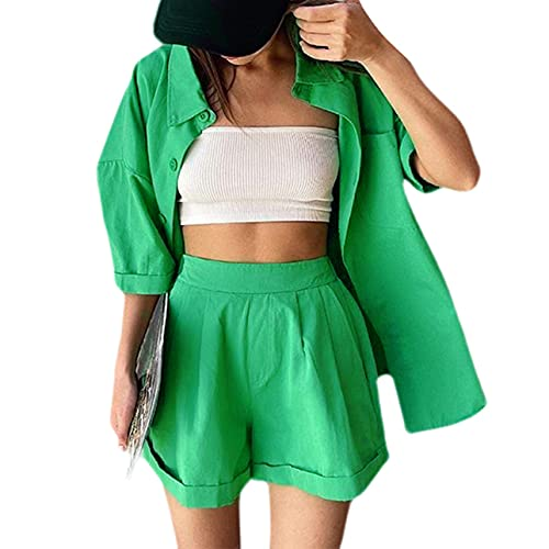Conjunto de 2 piezas sueltas para mujer, conjunto de camisa de manga corta con botones y pantalones cortos de cintura alta sueltos, verde, L