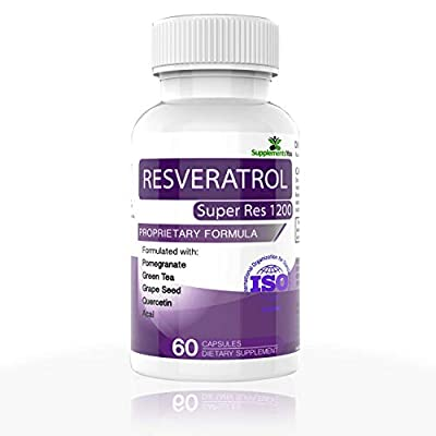 RESVERATROL SUPER RES 1200 - 60 Premium Supplements. Proprietary Blend of POMEGRANATE, GREEN TEA & GRAPE SEED to act as a potent ANTIOXIDANT against INFLAMMATORY DISEASES.Super boost for ANTI-AGEING. 100% MONEY BACK GUARANTEE! By SUPPLEMENTSYOU