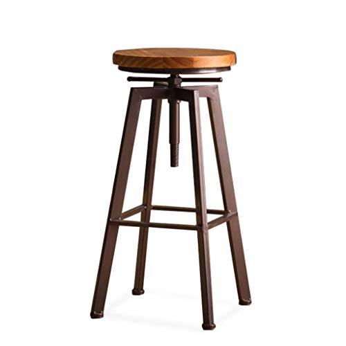 QenDsx Taburetes de Bar, Altura Regulable Silla giratoria de Barra de Altura de mostrador, taburetes de Bar de Madera Estilo Industrial con Acabado Retro A+ (Color : A)